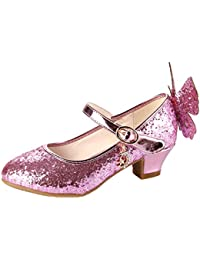 Monissy Niña Alas Sandalias de Disfraz Cenicienta Rhinestone Lentejuelas Tacón Altos Bailarinas Fiesta Actuación Ceremonia Cumpleaños 5-16Años Tamaño28-38 Zapatos de Cosplay Plateado