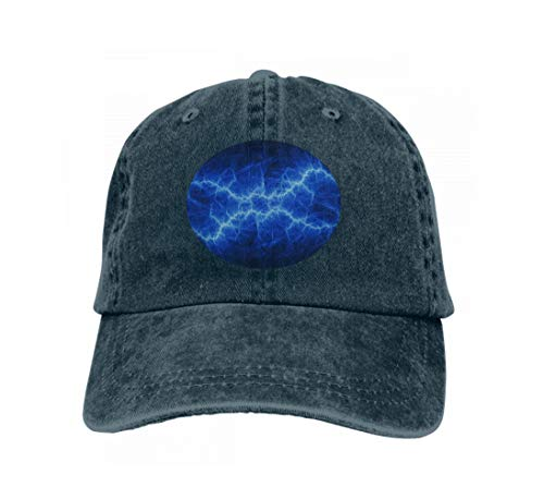 Unisex Adult Baseball Cap Trucker Hat Cowboy Hat Hip Hop Sports Snapback Blue Plasma Lightning Bolt Blue Plasma Lightning Bolt abstra Navy Plasma-single
