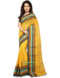 WoodenTant Women's Cotton Handloom Saree (WCS59, Yellow, Free Size)