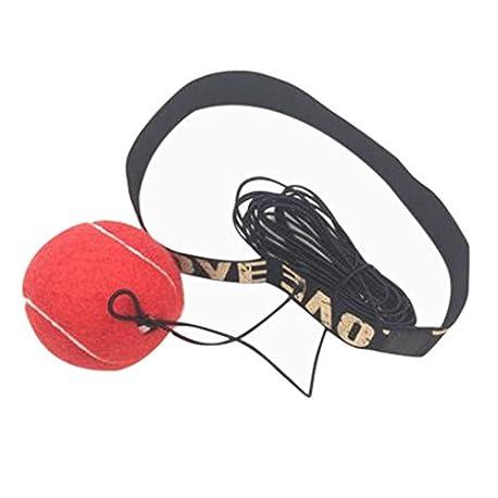 Covermason Material de Gimnasio Boxeo Pelota y Banda de Cabeza Reflejo Velocidad Formaci n 2PCS Rojo