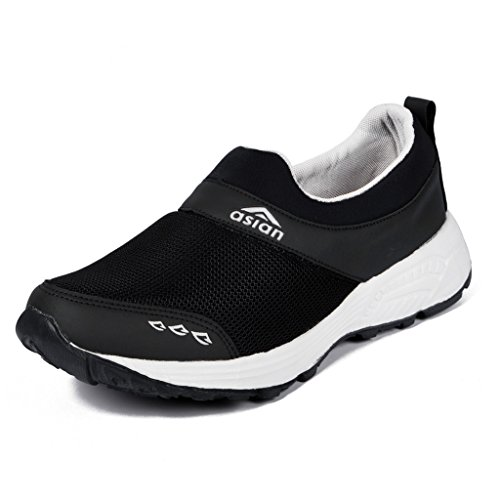 Asian Shoes Men's Black Mesh Sports Shoes