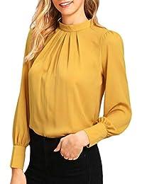 Camisetas Larga Tops Blusas Mujer Fiesta OtoñO Blusa Casual De Gasa De Manga Larga para TúNica