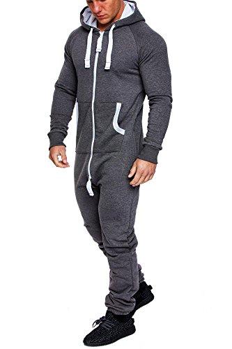 Amaci&Sons Herren Overall Jumpsuit Jogging Onesie Trainingsanzug Camouflage 3001 Dunkelgrau XL