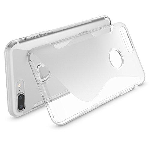 Apple iPhone 8 Plus / 7 Plus Coque Protection de NICA, Housse Silicone Portable Mince Souple, Telephone Case Cover Incassable Ultra-Fine Resistante Gel Slim Bumper Etui - Mat Noir S-Line Transparent