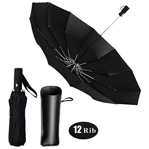 Regenschirm 12 Rippen Taschenschirm, Sturmfest bis 150 km/h Winddicht Schirm auf-Zu-Automatik Kompakt Stabil Regenschirm für Reisen & Business (schwarz)