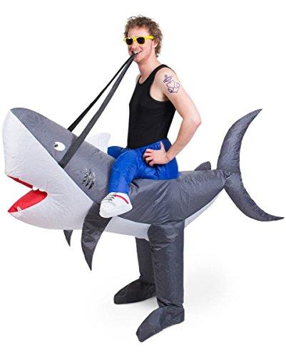 Aufblasbares Haifisch Carry Me Kostüm für Fasching One Size