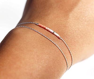 Bracelet fin double tour minimaliste, chaine serpent argent massif 925, et perles miyuki corail, rose poudré et blanc