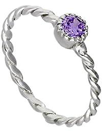 3241e15b6 Sterling Silver & Amethyst CZ Crystal February Birthstone Twisted Rope Ring  I - U