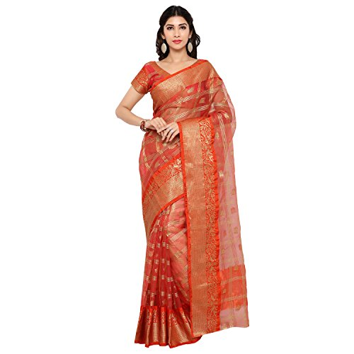 Bhelpuri Tissue Jacquard Woven Saree (Peach)