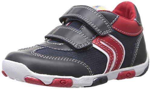 Geox B Balu B F, Chaussures basses à scratch bébé garçon Bleu (Navy/Red)
