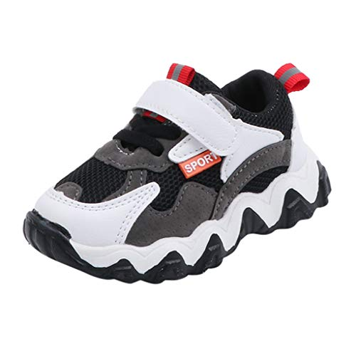 HDUFGJ Kinder Turnschuhe Weiche Sohle Laufschuhe Outdoor Sneakers Klettverschluss Atmungsaktiv Sneaker 27(Schwarz)
