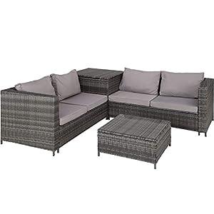 TecTake 800678 Polyrattan Sitzgruppe für 4 Personen, frei zu gruppierende Elemente, inkl. Aufbewahrungsbox für Polster, Tisch mit Glasplatte - Diverse Farben - (Grau | Nr. 403072)