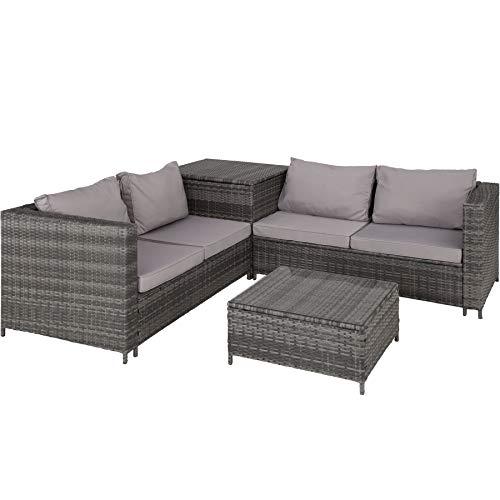 tectake 800678 - salottino in rattan, 2 divani con cuscini, 1 tavolo con piano in vetro, 1 contenitore di custodia - disponibile in diversi colori (grigio | no. 403072)