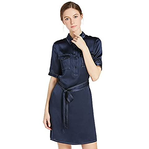LILYSILK Women's 100% Silk Shirt Dress Short Blouse Gown Ladies 22 Momme Pure Silk Charmeuse Navy Blue Size