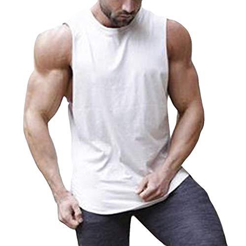 Hahuha Oberteile für Männer,Männer Streifen Sport Tops Vest Pure Color Große offene Male Vest
