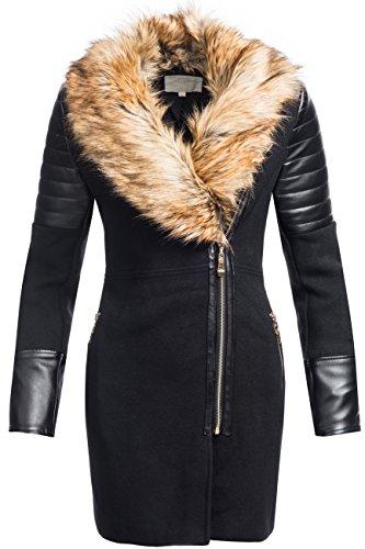 Giacca invernale | giacca invernale | cappotto in lana da donna modello 1603-1B-Elegante Cappotto di lana con angesagtem materiale Mix in similpelle e cotone ideale per il passaggio autunno/inverno nero-marrone XL