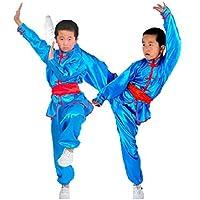 Zooboo Uniform für Karate / Martial Arts–Nanquan, Taekwondo, Hapkido, Sanda, Chinesisches Kung Fu, Wing Chun, Trainingsbekleidung, mit Gürtel, für Kinder, Jungen und Mädchen, Synthetische Seide, Schwarz