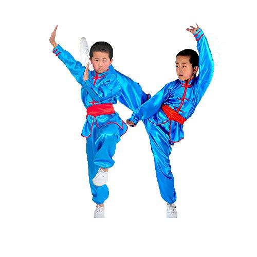 Zooboo Uniform für Karate / Martial Arts–Nanquan, Taekwondo, Hapkido, Sanda, Chinesisches Kung Fu, Wing Chun, Trainingsbekleidung, mit Gürtel, für Kinder, Jungen und Mädchen, Synthetische Seide, Schwarz, blau, 150