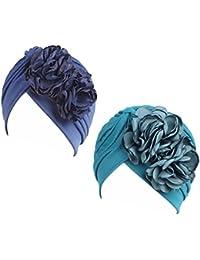Gorra Beanie De Tela con Flor Color Liso Turbante para Cabeza De Mujer para  Cáncer Quimioterapia 893e330b6ce