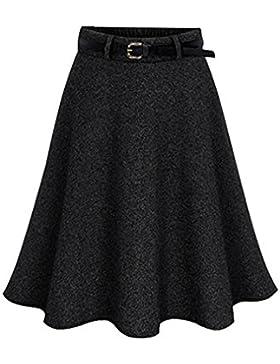 Falda Mujer Retro Vintage Midi Plisada Falda A-Line Falda Sin Cinturón Negro 4XL