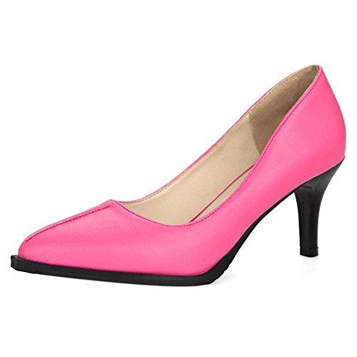TAOFFEN Femmes Chaussures Mode Kitten Heel A Enfiler Pointu Escarpins Rose