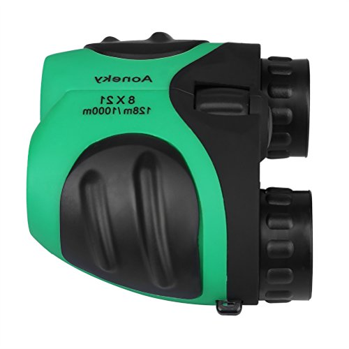 Aoneky Compact Mini Rubber 8 x 21 Kids Binoculars for Bird Watching, Best Christmas Gifts for Children, Recommended for Boys Age 3 to 11 Years Old, Green
