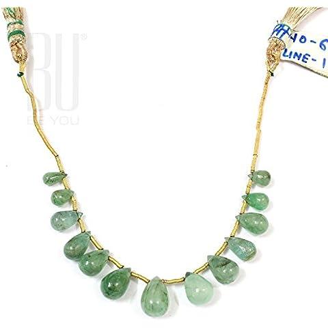 Be You 19.46cts luce colore verde smeraldo brasiliano naturale della pietra preziosa 13 pezzi lacrima pianura scende perline filo