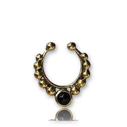 Chic-Net Septum Fake Piercing Nasenringe Onyx Kugeln Messing antik goldfarben schwarz