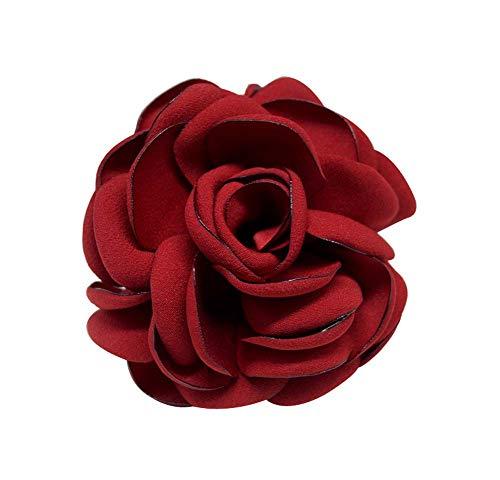 Broches faites à la main à la mode de femmes Broches à fleurs élégantes 2 pièces, vin rouge