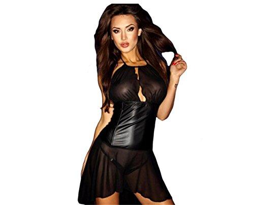 FUNKY LOVER Sexy Dessous Leder Spitze oben Schwarz Nacht Kleid Verein Party tragen Geschenk Frau Damen Body Unterwäsche Strumpfhose , M (Kreuz-vorderseite Trikot)