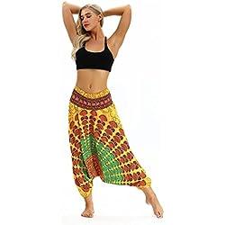 Mujer Verano Fiesta Mujeres Sexy Pantalones De Yoga Flojos Ocasionales De Las Mujeres Pantalones Harem De Baggy Aladdin del HolgazáN De Las Mujeres (Un tamaño, Amarillo)