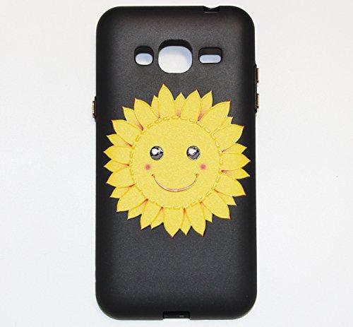 Linvei Samsung Galaxy J3(2016) Etui Cuir Coque,[Conception de motif coloré][PU Cuir Housse][Portefeuille Flip][Stand soutien/Card Slot /fermeture magnétique]-Plante tropicale verte Design souriant de tournesol