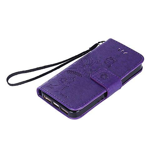 iPhone SE Hülle, iPhone 5S Hülle, iPhone 5 Hülle, iPhone SE 5S 5 Lederhülle, iPhone SE 5S 5 Hülle Brieftasche, BONROY [Premium Leder Serie] Retro Rosen Muster Rosa Handyhülle Schutzhülle PU Leder Flip Deep Purple