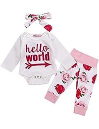 Happy-day Ropa para bebés,Ropa para niños, Bebé niña de Manga Larga Letra Estampado de Flores Batas + Pantalones + Banda de Pelo Traje de Tres Piezas Hola Mundo,3PCS