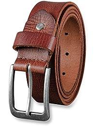 STILORD Cinturón de Cuero para Hombre de Búfalo Robusto Correa para Vaqueros  con Hebilla de Espina 908629608d91