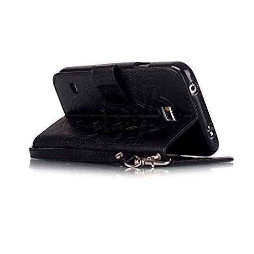 Custodia per iPhone 5, iPhone 5S, iPhone SE Custodia, con protezione per lo schermo in vetro temperato] antigraffio, fatcatparadise (TM) Custodia posteriore in silicone morbido, elegante vintage premu nero