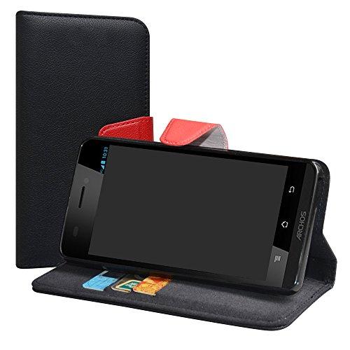 LiuShan Archos 50 Platinum 4G / 50E NEON Hülle, Brieftasche Handyhülle Schutzhülle PU Leder mit Kartenfächer und Standfunktion für Archos 50 Platinum 4G / Archos 50E NEON Smartphone,Schwarz