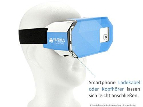 VR-PRIMUS® Google Cardboard VR Brille | Virtual Reality | Leicht, Nasenpolster, Kopfband | Für Smartphones wie iPhone, Samsung, HTC, Sony, LG, Nexus, Huawei, OnePlus, ZTE, Google Pixel usw. | (blau)