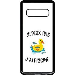 Générique Coque Samsung Galaxy s10+ Plus Je Peux Pas j AI Piscine bouee Canard Fond Blanc