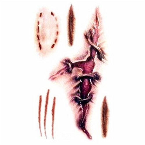 Shiningup 10pcs Horror Scary Realistische gefälschte Bloody Wound Stitch Scar Scab Spinne Bloody Biss Mark Kostüm Makeup Halloween Dekoration Temporäre Tattoo Aufkleber Halloween Masquerade Prank Makeup (Up Bewerben Zombie Make)
