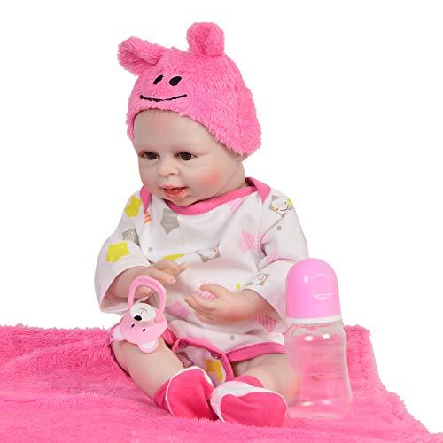 ZZYB Waschbar Baby Schwarz Haut Simulation Weiche Silikon Lebensechte Reborn Baby Puppe 42cm Realistische Weichkörperpuppe Kinder Spielzeug Geburtstag ()