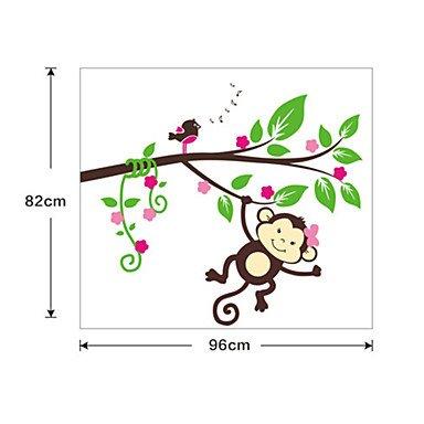 piteng- Lovely singe d'escalade Arbre PVC Stickers Muraux