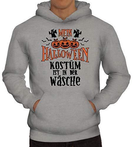 ShirtStreet Grusel Gruppen Herren Hoodie Männer Kapuzenpullover Mein Halloween Kostüm ist in der Wäsche 2, Größe: S,Graumeliert