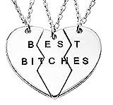 Lovelegis Tre Collane da Donna - Amicizia - Best Friends - Migliori Amiche per 3 - Cuore - Cuoricino - Best Bitches X 3 - BFF - Ciondoli - Divise - Spezzate - Incastro - Rotte - Colore Argento