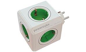 Allocacoc 1103GN/deorpc allocacoc PowerCube Original Verde Type F per Extended Cubes