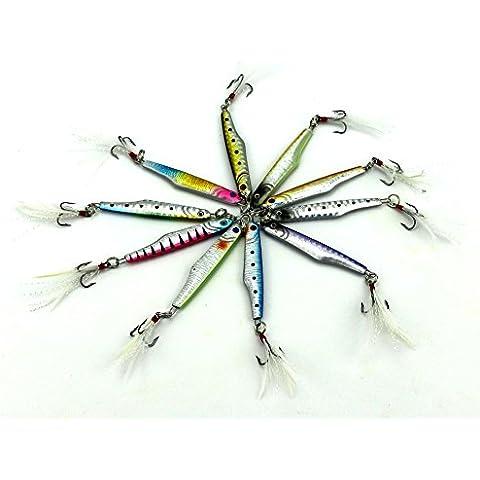 HENGJIA plomo señuelo de metal, 10unidades) 10colores 0.53oz/15g/6cm Trolling & casting plumas de gancho Pesca Cebo artificial swimbait Pike Bass cebo