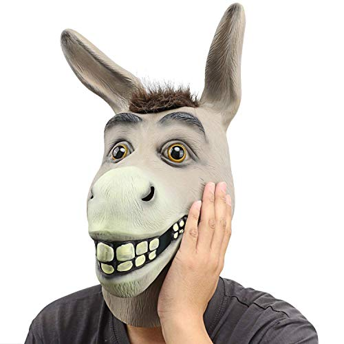 Lypumso Esel Maske aus Latex für Party Halloween Weihnachtsfeier Karneval Fasching Kostüm Dekorationen Erwachsenen Kostüm Zubehör (Grau)