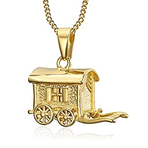 BOBIJOO JEWELRY – Anhänger Halskette Wohnwagen Verdine Karawane, Reisende, Zigeuner Stahl Vergoldet Kette