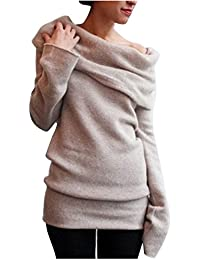 06baa675e7c88f Dihope Damen Herbst Winter Pullover Schulterfrei Langarm Asymmetrisch  Sweatshirt Strick Pullover Poncho Shirt mit…