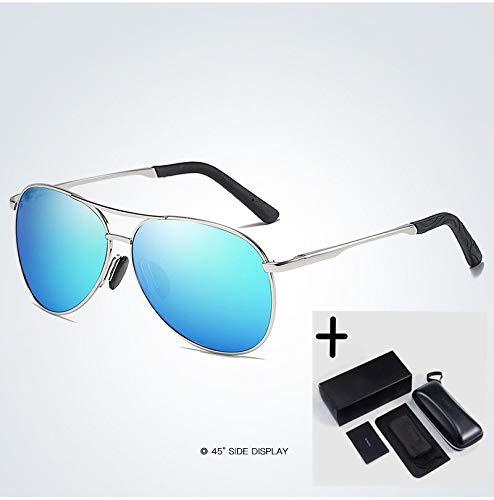 LKVNHP Herren Sonnenbrillen Polarized Mirror Lens Brillen Zubehör Driving Sun Glasses Shades Uv400Silber-Blau